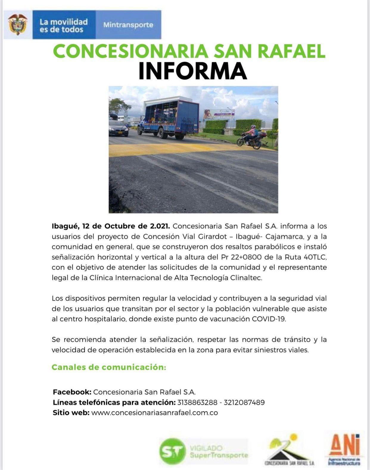 Instalan reductores de velocidad frente a Clinaltec   ELOLFATO.COM -  Noticias de Ibagué y Tolima