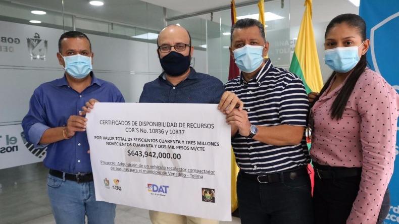 Municipio de Venadillo recibirá un camión compactador de residuos sólidos