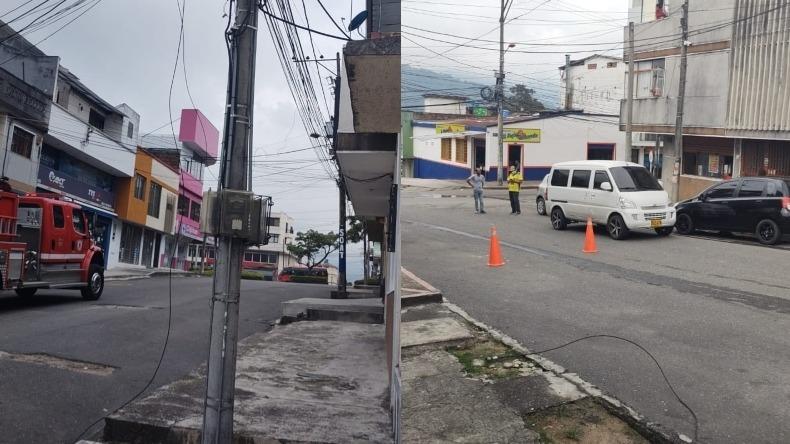 Emergencia en un barrio de Ibagué por ruptura de cable de energía, aparentemente de alta tensión