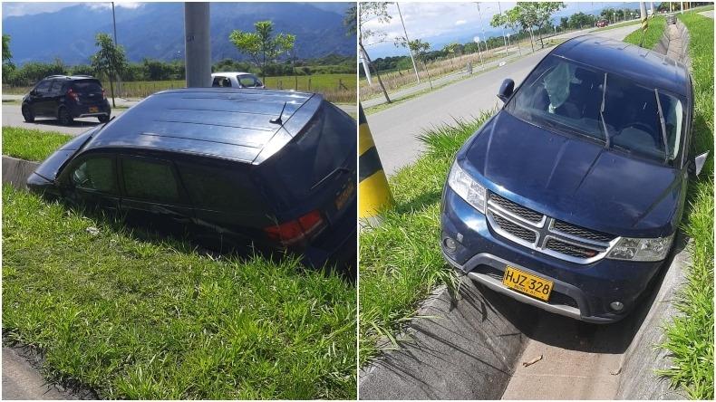 Camioneta Dodge quedó atrapada en una cuneta de la vía al Aeropuerto Perales