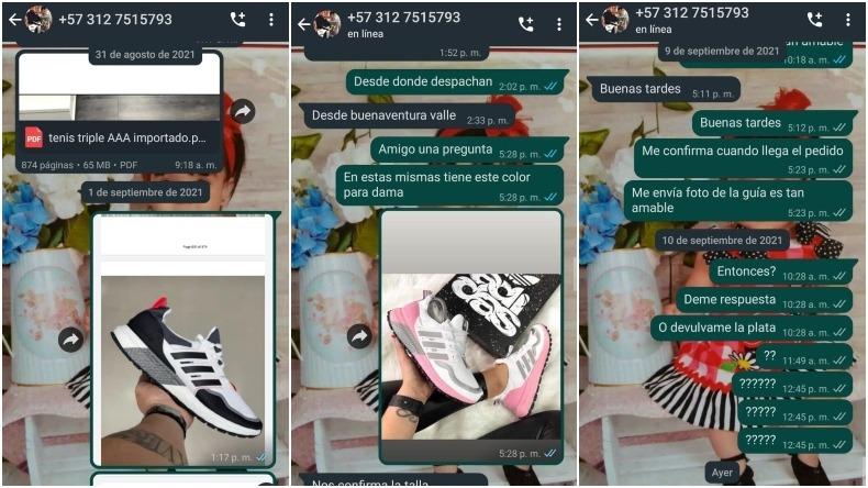 Joven denuncia que fue estafado con la venta de unas zapatillas en Ibagué