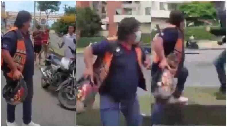 Motociclista se enfrentó a manifestantes en la calle 60 de Ibagué