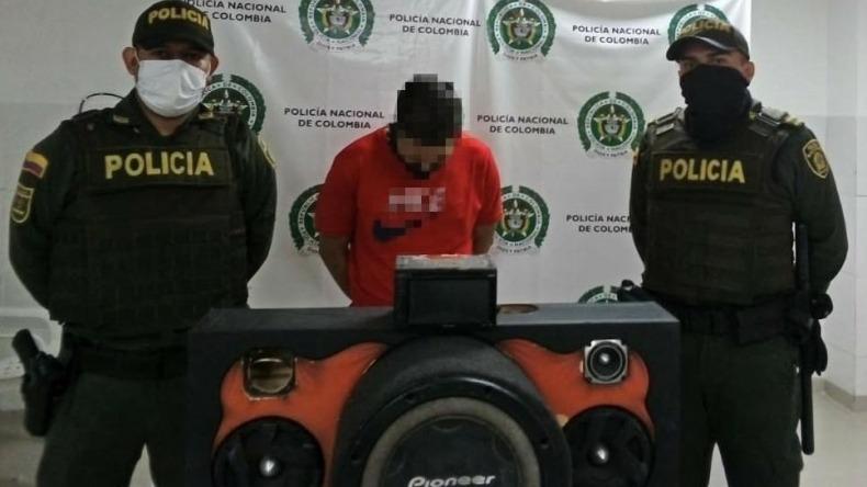 Policía de Ibagué recuperó cabina de sonido robada y capturó al ladrón