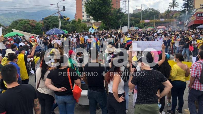 Paro nacional llegó al punto de concentración en la calle 60 en Ibagué