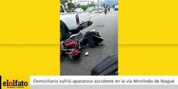 Embedded thumbnail for Domiciliario sufrió aparatoso accidente de tránsito en la vía Mirolindo de Ibagué
