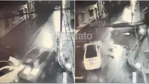 Se conoció la grabación del accidente entre dos carros en el barrio La Pola