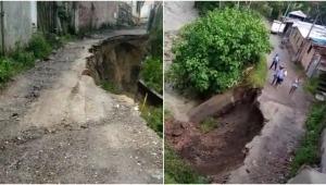 Pérdida parcial de la vía tiene prácticamente incomunicadas a familias del barrio Baltazar