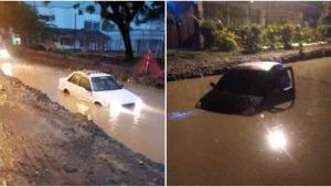 Dos vehículos quedaron atrapados en una inundación en el corregimiento de El Totumo
