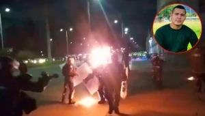 Policía tolimense fue atacado en la cara con una bomba durante disturbios en Bogotá