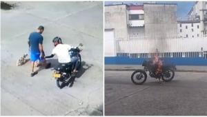 Ciudadanos quemaron motocicleta de un ladrón en el barrio La Francia