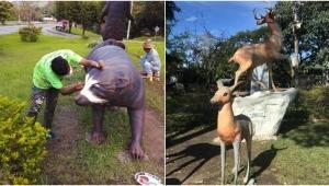 Así quedaron los monumentos a 'Los Osos de Anteojos' y 'Los Venados'