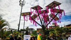 Inauguraron segundo árbol solar de energía renovable en Ibagué