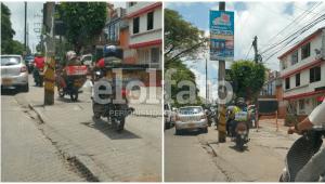 Motociclistas ponen en riesgo a peatones por subirse a andenes para evitar 'trancones' en Ibagué